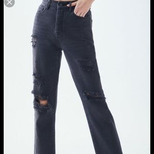 PACSUN MOM RIPPED JEANS DARK GREY